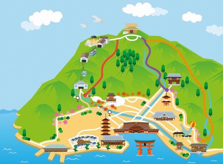 弥山散策マップイラストマップ(全体)画像